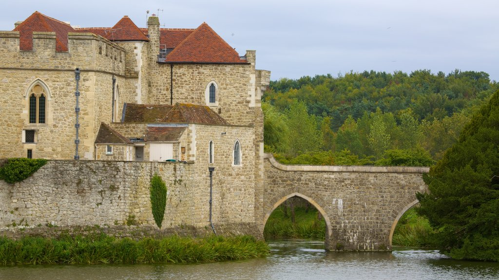 Leeds Castle featuring heritage elements, a river or creek and heritage architecture