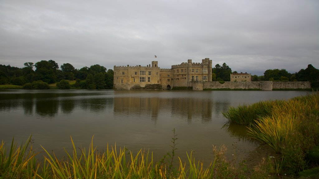 Leeds Castle showing a river or creek, heritage elements and heritage architecture