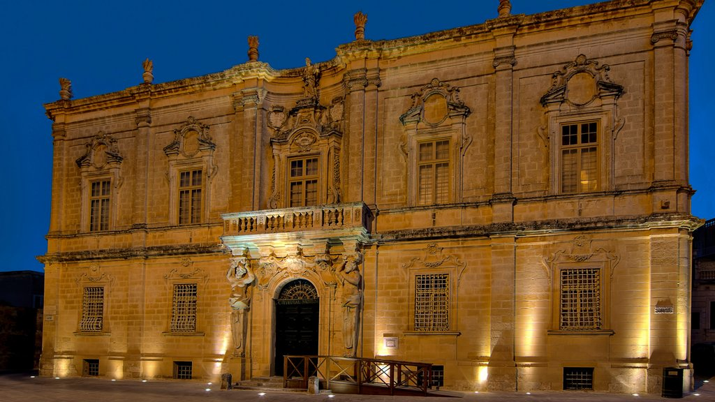 Mdina featuring night scenes and heritage architecture