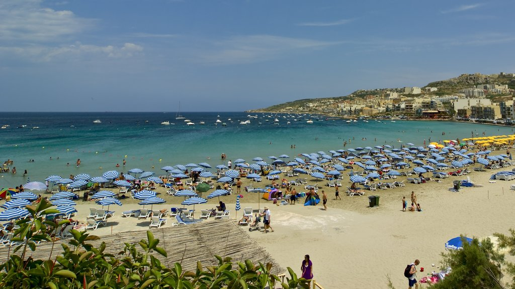 Mellieha showing a beach, general coastal views and tropical scenes