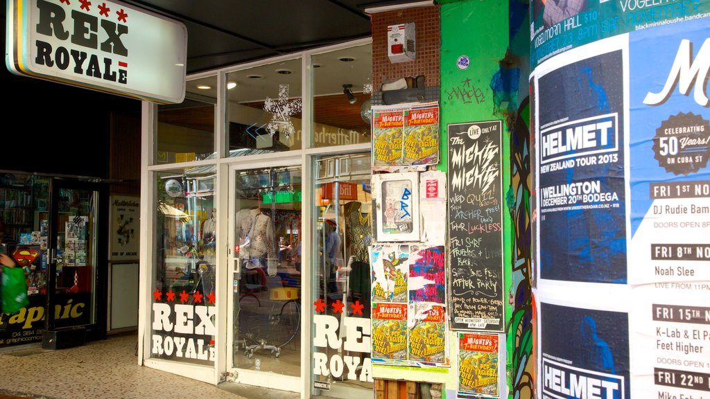 Cuba Street Mall featuring shopping and signage