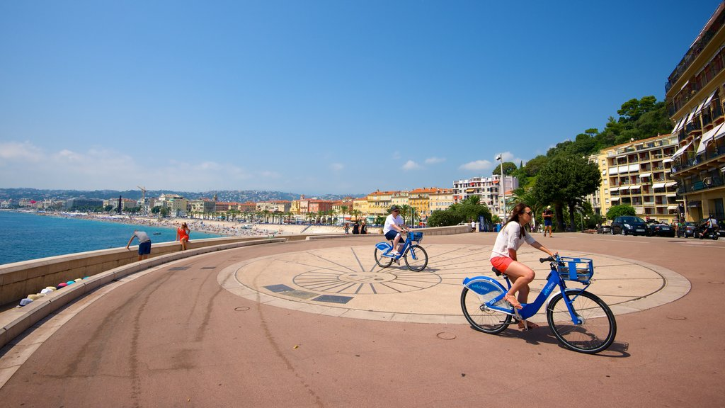 Nice which includes a coastal town, a square or plaza and cycling