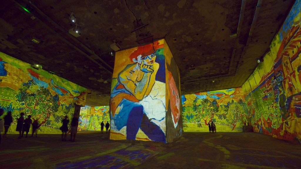 Carrieres de Lumieres featuring a church or cathedral, art and interior views