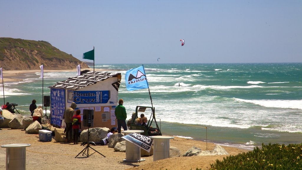 Santa Cruz showing general coastal views, a sandy beach and a sporting event