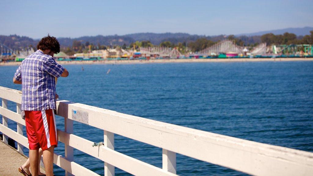 Santa Cruz que incluye vistas generales de la costa y vistas y también un hombre