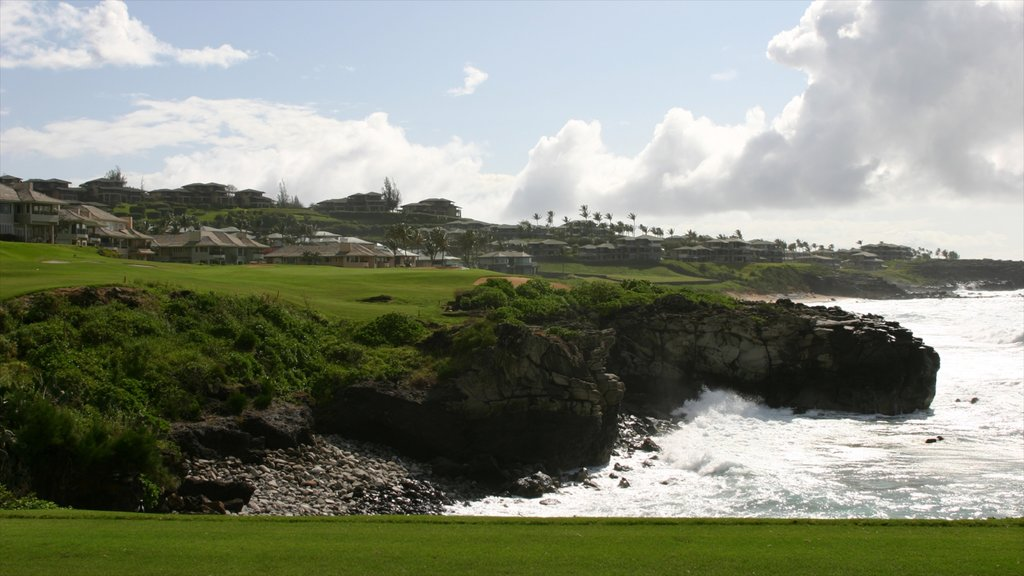 Kapalua Beach which includes golf and rocky coastline