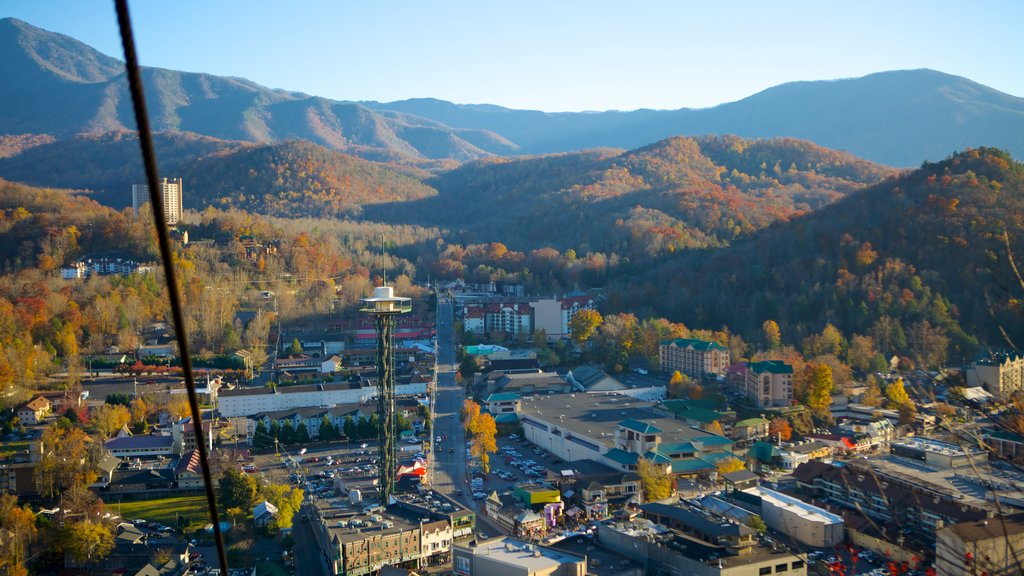 Gatlinburg Sky Lift which includes mountains and fall colors