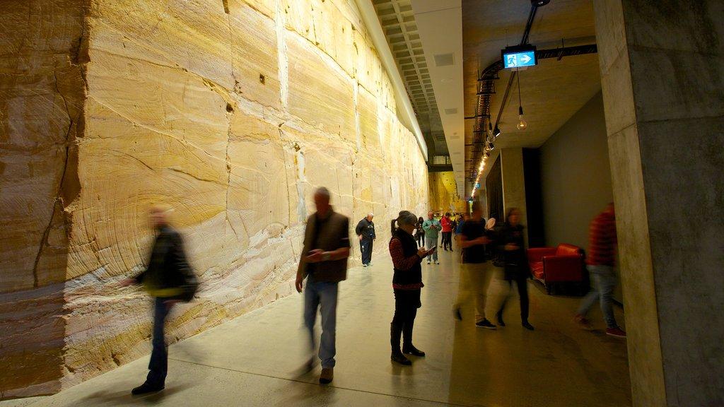 Museo de Arte Antiguo y Contemporáneo que incluye vistas interiores y también un gran grupo de personas