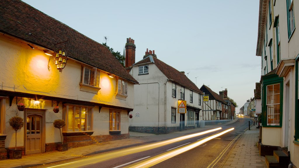 Saffron Walden showing street scenes, a city and a house