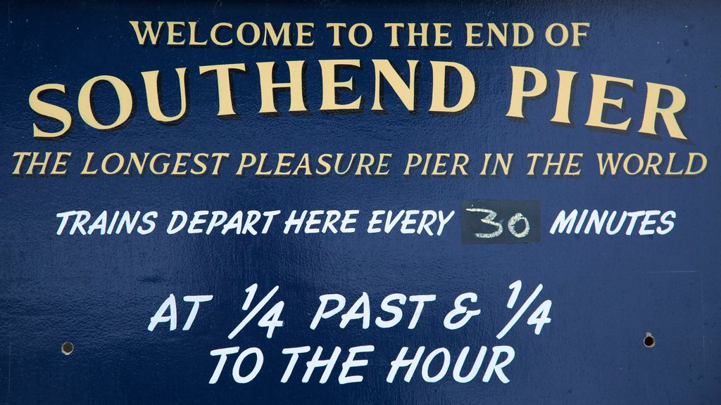Southend Pier which includes signage