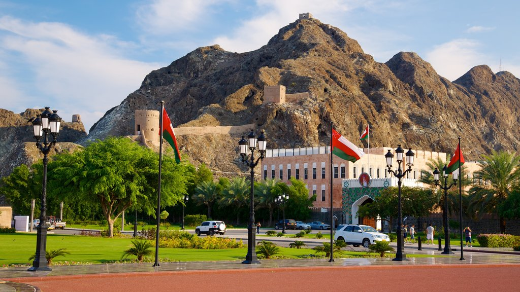 Muscat featuring a small town or village and mountains