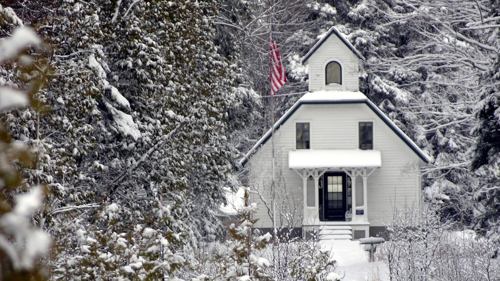 Door Peninsula showing heritage architecture, snow and forest scenes