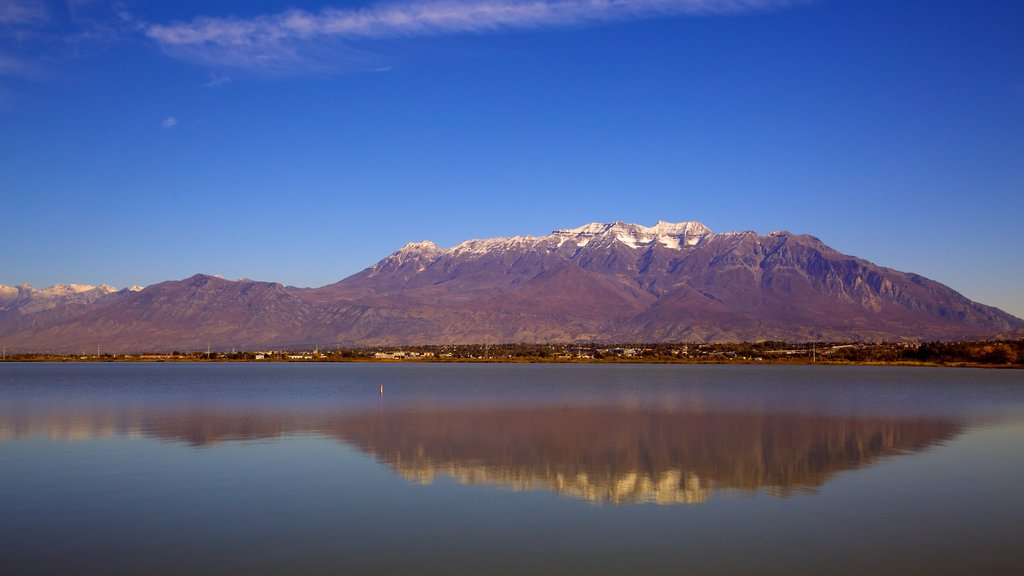 Utah Lake State Park showing landscape views, a lake or waterhole and mountains