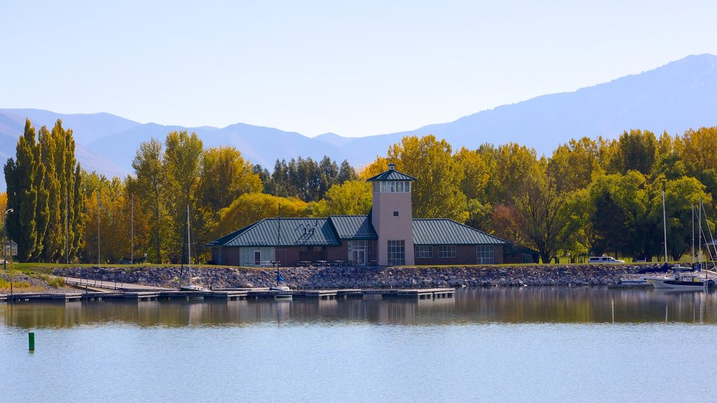 Utah Lake State Park featuring landscape views, a house and a garden