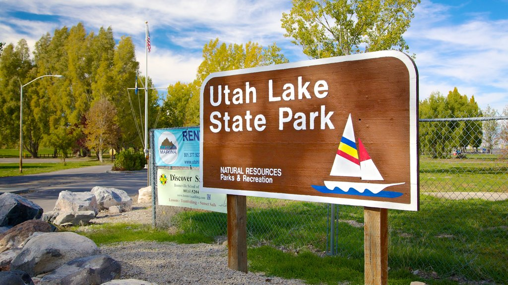 Utah Lake State Park which includes a park and signage
