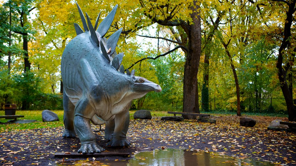 Cleveland Museum of Natural History showing a garden and fall colors