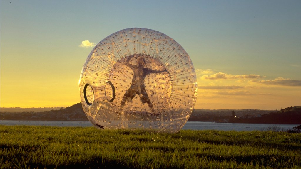 Zorb featuring tranquil scenes and a sunset as well as an individual male