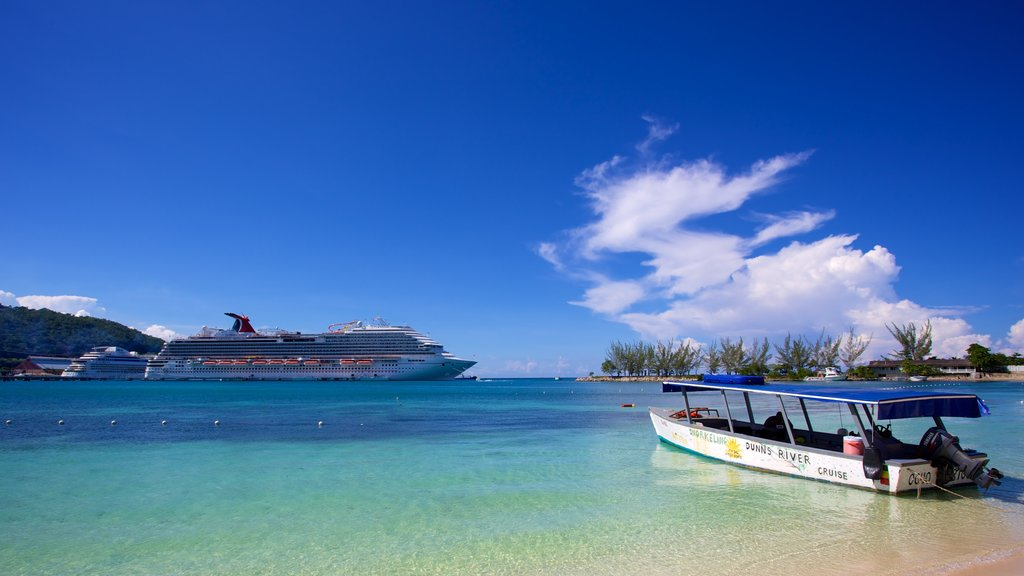 Ocho Rios featuring general coastal views, boating and a beach