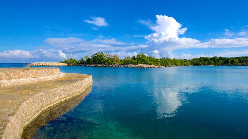Playa de James Bond ofreciendo escenas tropicales y una bahía o puerto