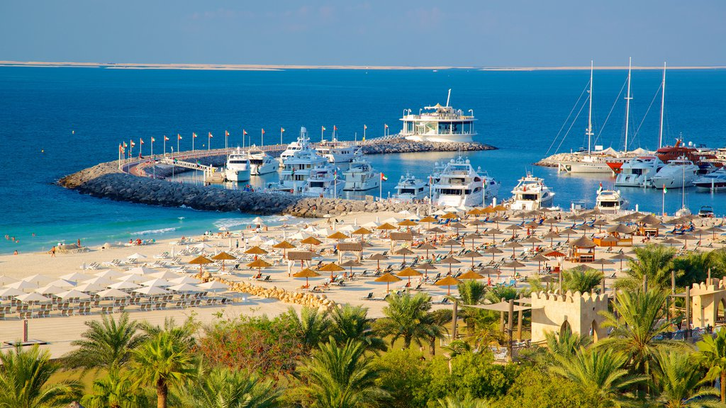 Wild Wadi Water Park featuring boating, a bay or harbor and a luxury hotel or resort