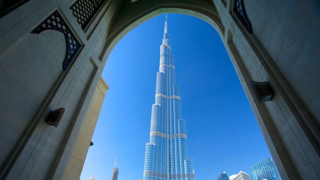Burj Khalifa which includes modern architecture and a skyscraper