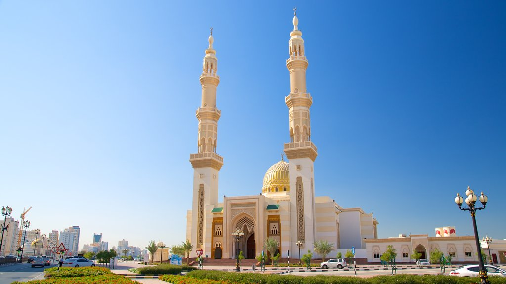 Sharjah which includes a mosque, a city and religious aspects