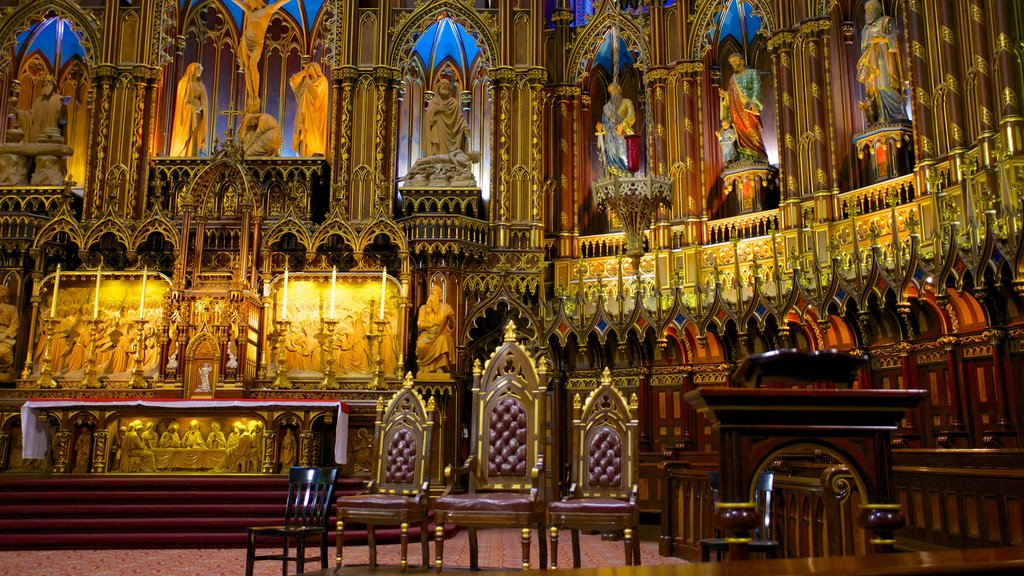 Notre Dame Basilica featuring a church or cathedral, interior views and religious aspects