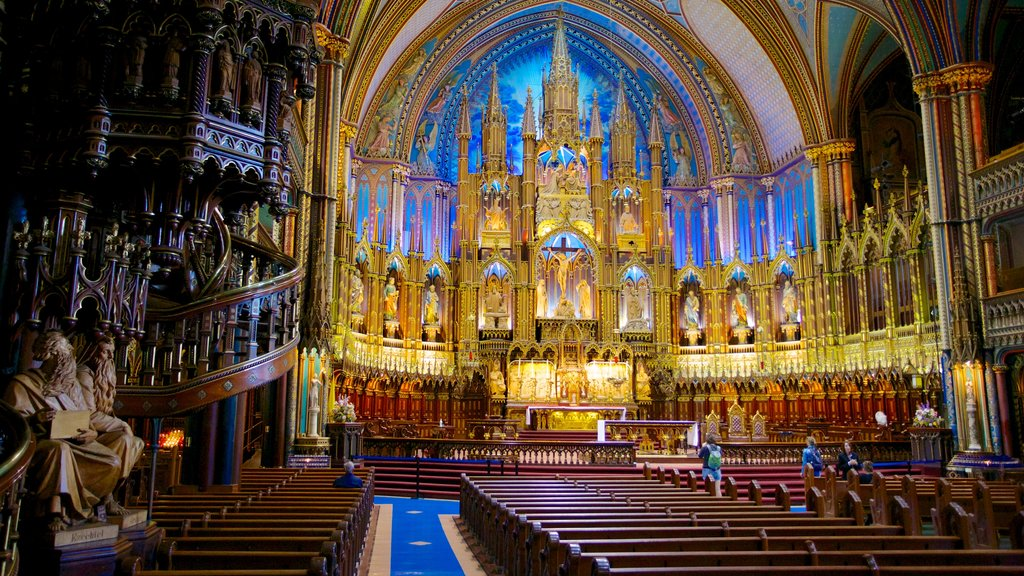 Notre Dame Basilica showing religious elements, a church or cathedral and interior views