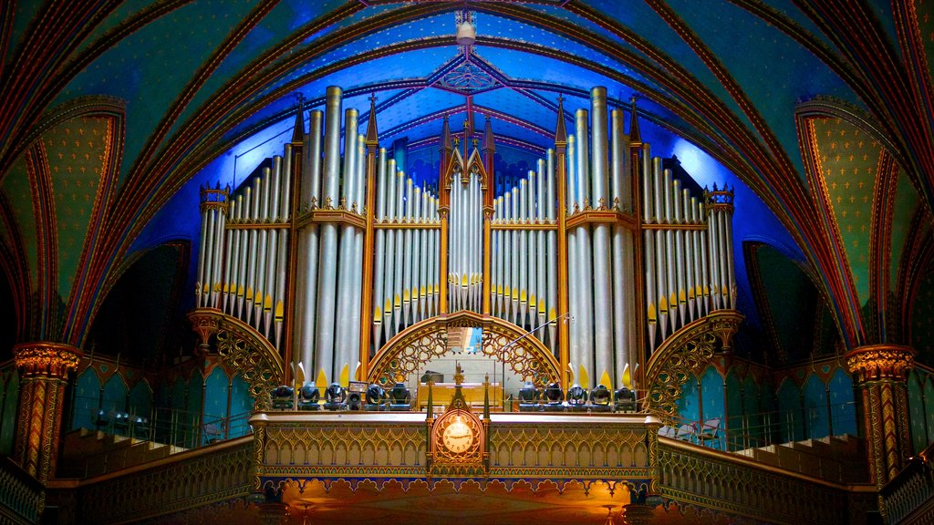 Notre Dame Basilica showing heritage architecture, religious elements and a church or cathedral