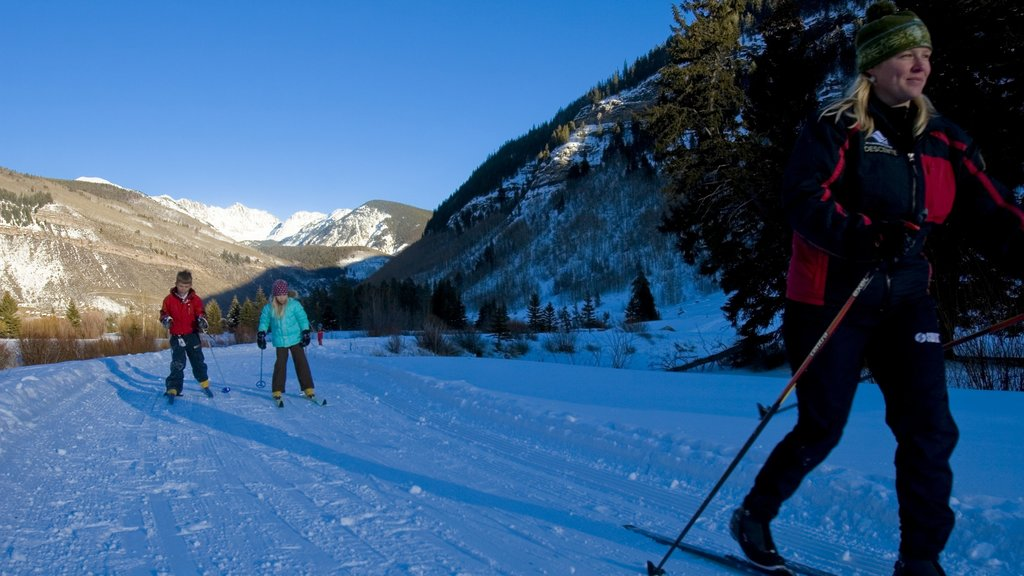 Vail Ski Resort showing snow and cross country skiing as well as a family