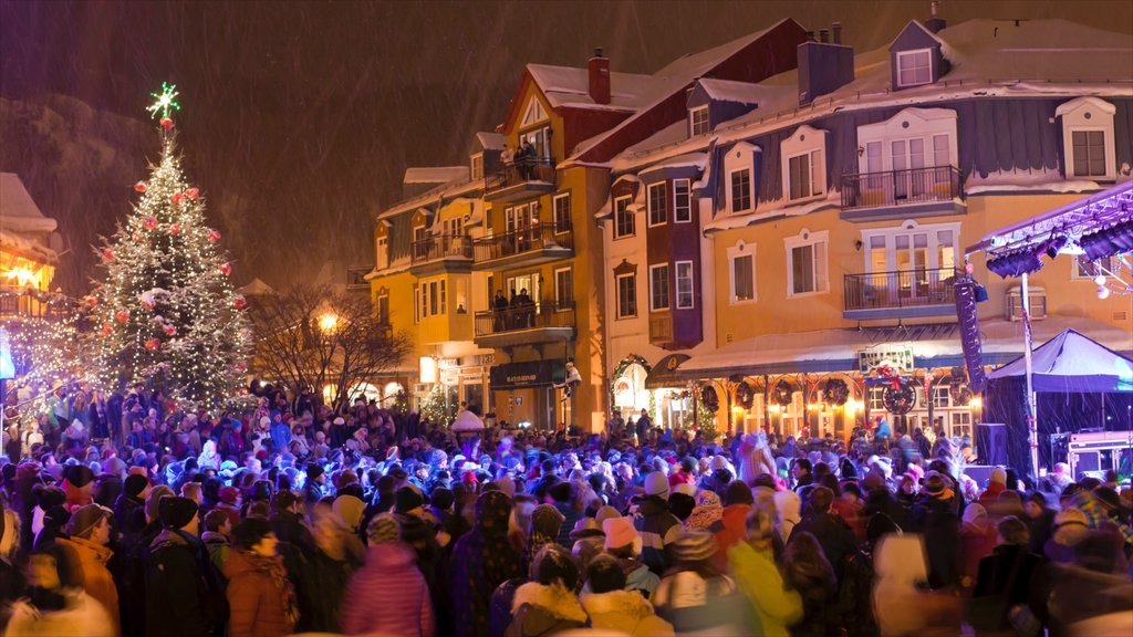 Mont-Tremblant featuring a small town or village, night scenes and a square or plaza