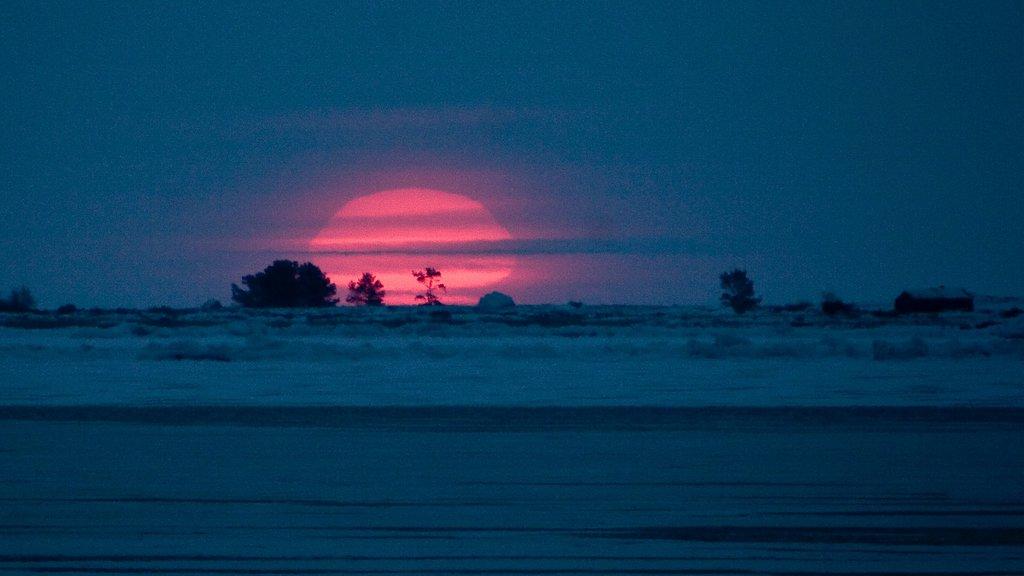 ヴァーサ どの含み 夕焼け と 海岸線の眺め