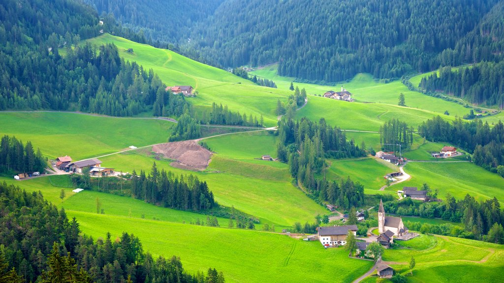 Funes which includes landscape views, a small town or village and farmland