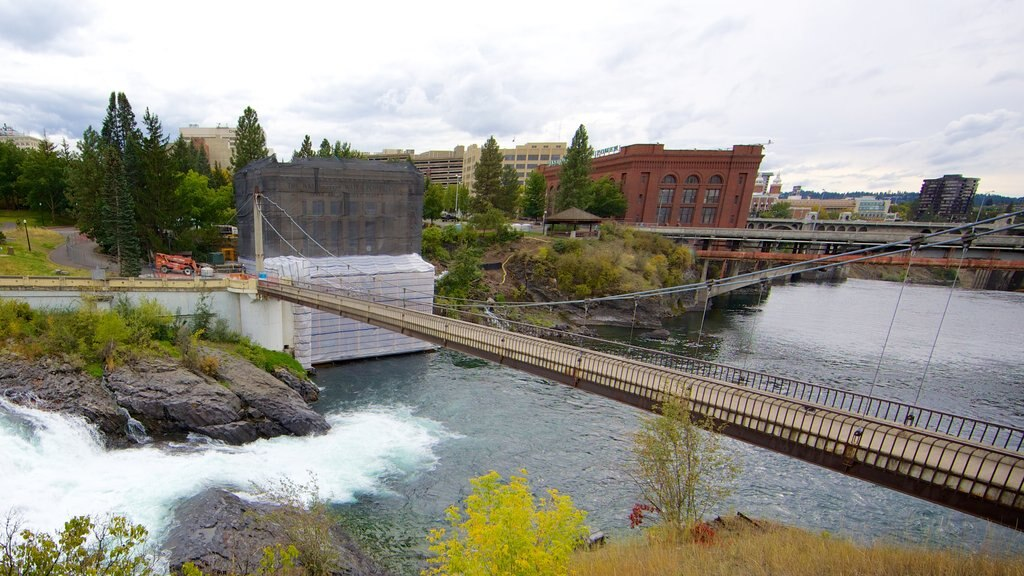 Spokane which includes a river or creek, a bridge and a city