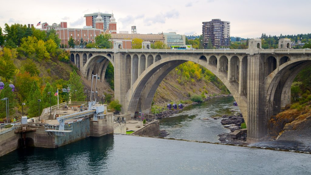Spokane featuring a river or creek and a bridge