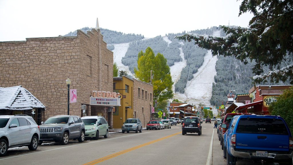 Jackson Hole featuring a small town or village, snow and street scenes
