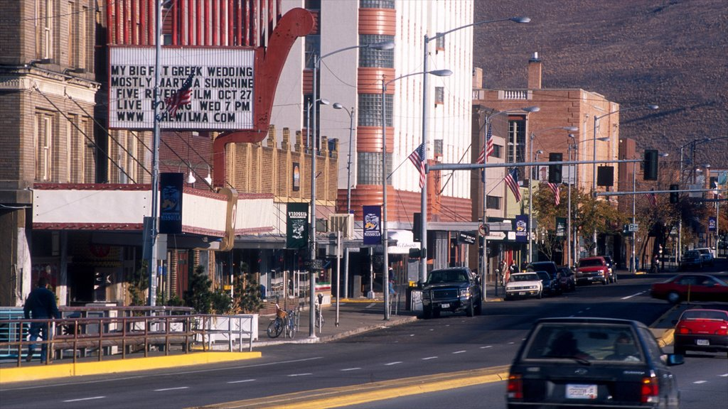 Missoula featuring signage, a city and street scenes
