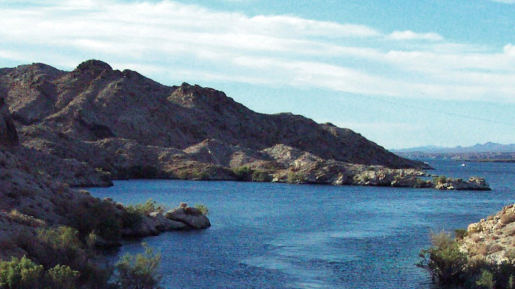 Bullhead City featuring a lake or waterhole, landscape views and mountains