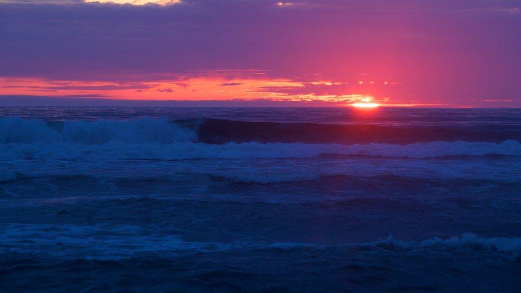 Parque nacional y parques estatales de Redwood que incluye olas, vistas de paisajes y una puesta de sol