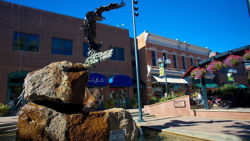 Fort Collins showing street scenes and a fountain