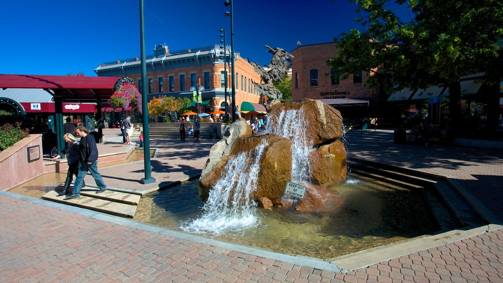 Fort Collins which includes a fountain, a square or plaza and a small town or village