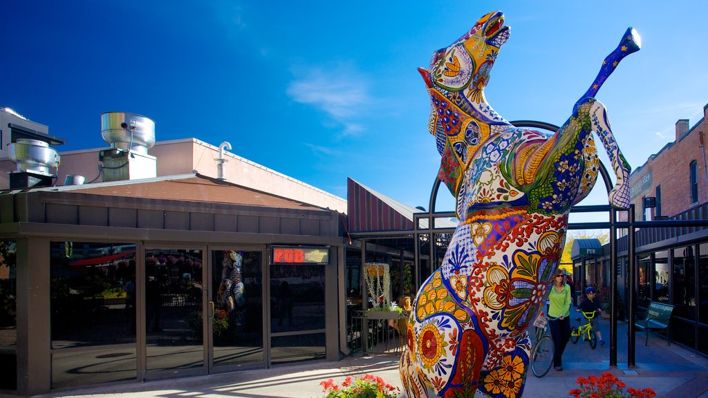 Fort Collins featuring outdoor art and a square or plaza