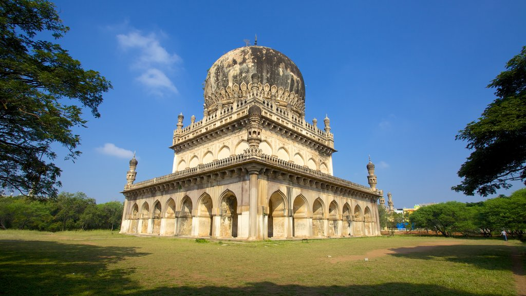 Qutub Shahi Tombs featuring a cemetery, heritage architecture and a memorial