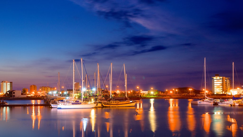 Mazatlan showing night scenes, a coastal town and a marina
