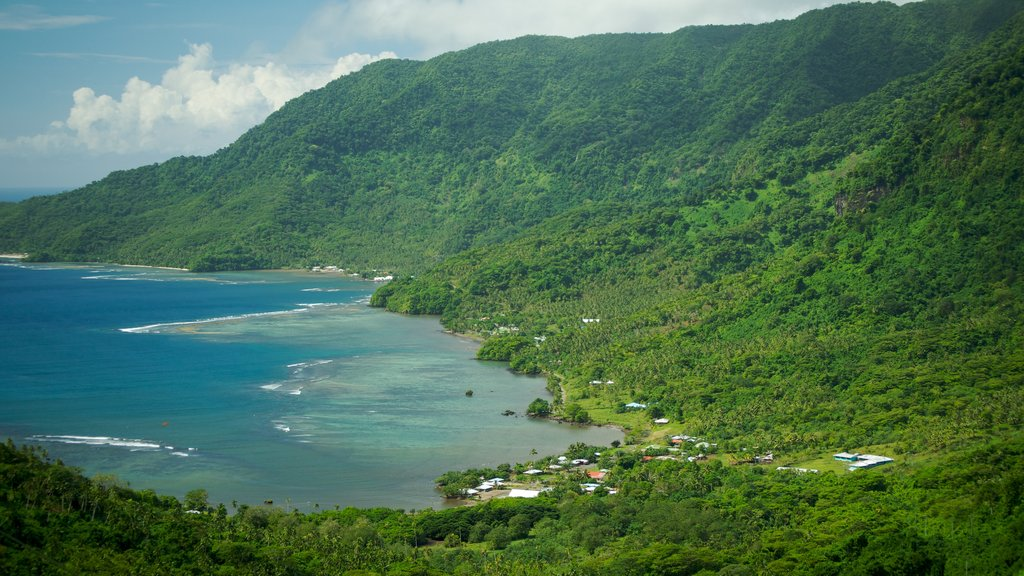 Upolu featuring mountains, a bay or harbor and a coastal town