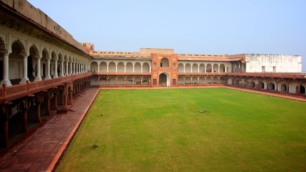 Agra Fort featuring a square or plaza, heritage architecture and a park