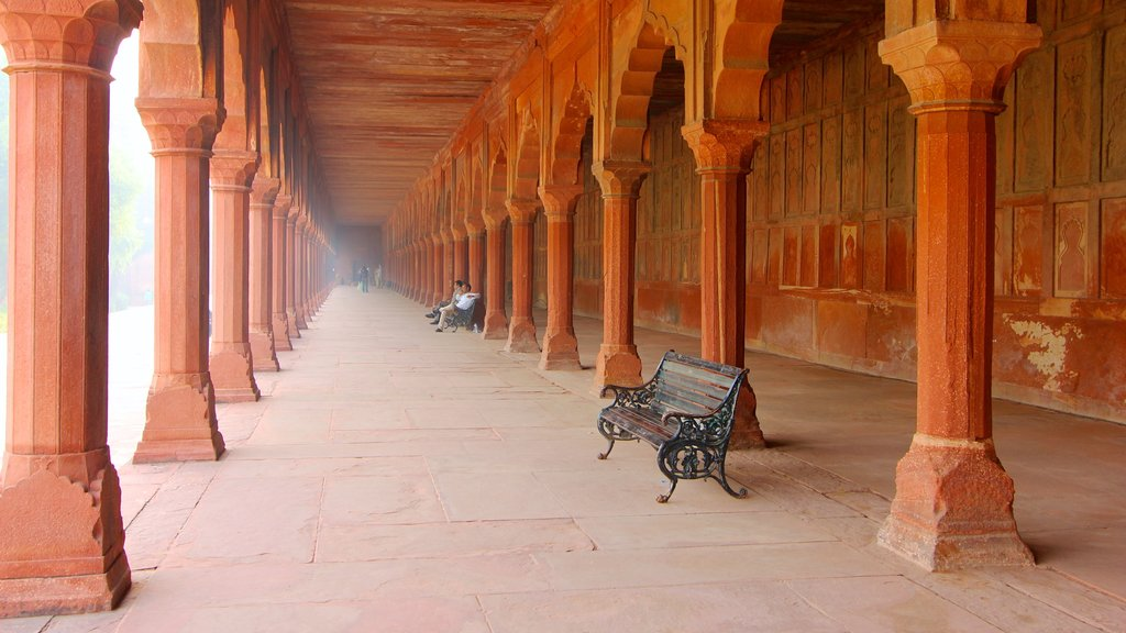 Agra which includes interior views, heritage architecture and a monument