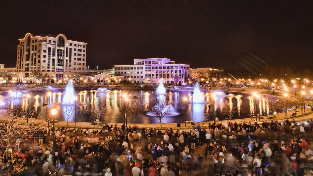 Newport News featuring night scenes, a city and a fountain
