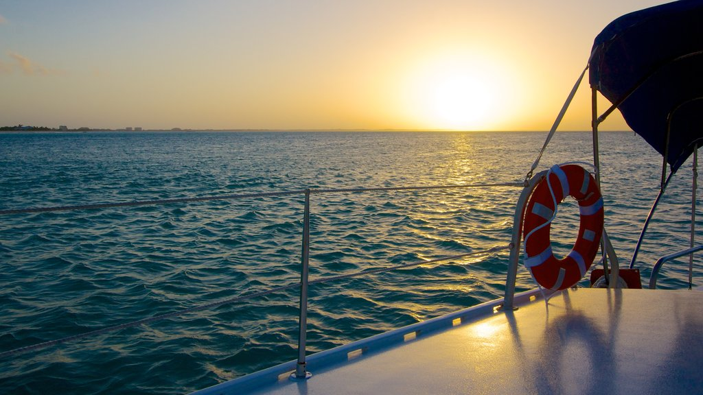 Providenciales which includes a sunset and boating