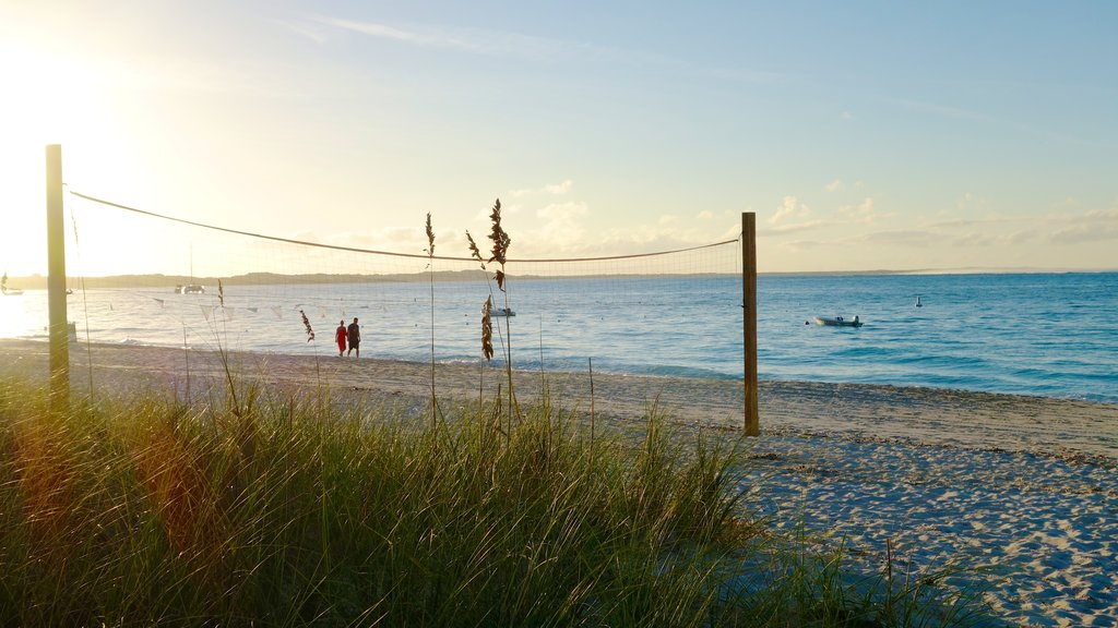 Turks and Caicos showing a sunset and a beach